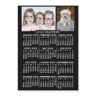 2018 Year Monthly Calendar Black | Photo Template