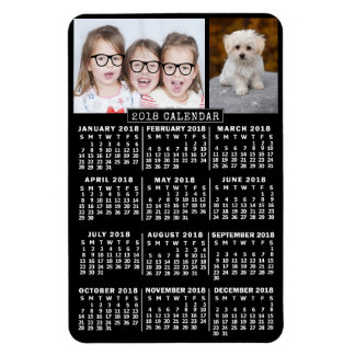 2018 Year Monthly Calendar Black | Photo Template Magnet