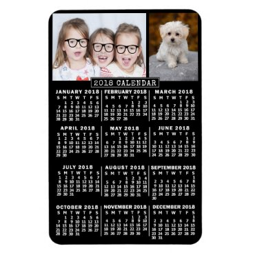 Professional Business 2018 Year Monthly Calendar Black | Photo Template Magnet