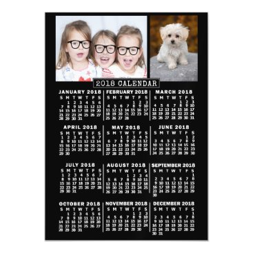 Professional Business 2018 Year Monthly Calendar Black | Photo Template Magnetic Card