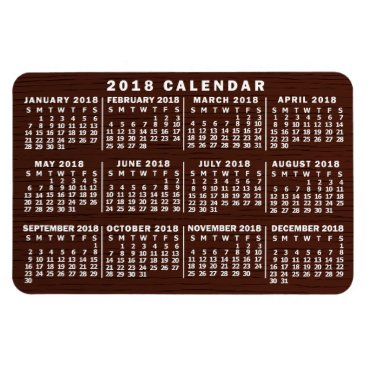 Professional Business 2018 Year Monthly Calendar Brown Wood Grain Simple Magnet