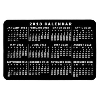 2018 Year Monthly Calendar Classic Black and White Magnet