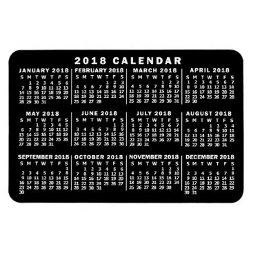 Professional Business 2018 Year Monthly Calendar Classic Black and White Magnet