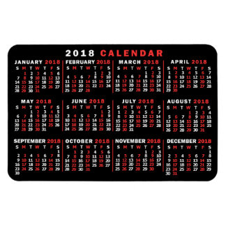 2018 Year Monthly Calendar Classic Black Red White Magnet