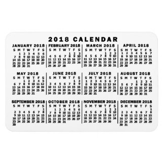 2018 Year Monthly Calendar Classic White and Black Magnet