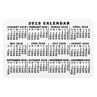 Professional Business 2018 Year Monthly Calendar Classic White and Black Magnet
