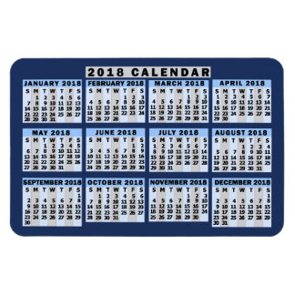 2018 Year Monthly Calendar Easy to Read Business Magnet