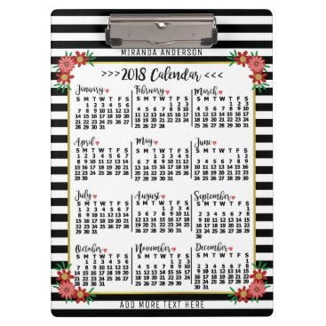 Professional Business 2018 Year Monthly Calendar Floral Stripes | Custom Clipboard