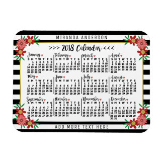 2018 Year Monthly Calendar Floral Stripes | Custom Magnet