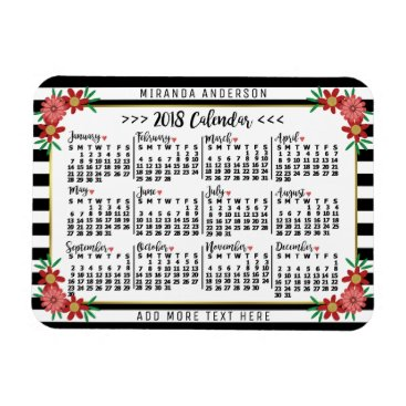 Professional Business 2018 Year Monthly Calendar Floral Stripes   Custom Magnet
