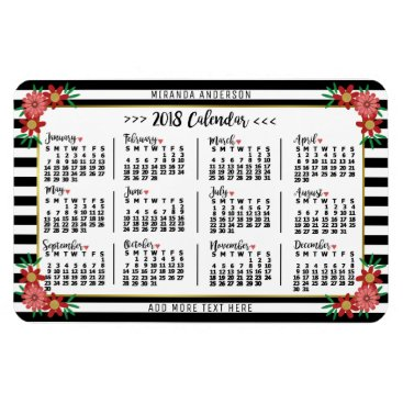 Professional Business 2018 Year Monthly Calendar Floral Stripes Trendy Magnet