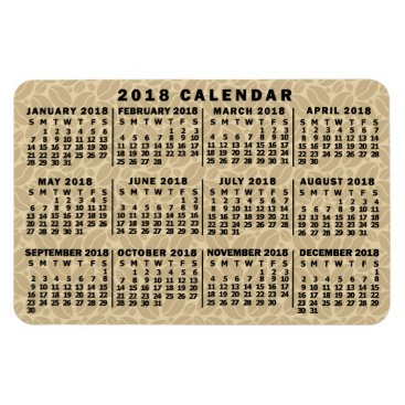 Professional Business 2018 Year Monthly Calendar Light Coffee Beans Magnet