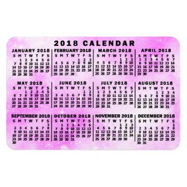 Professional Business 2018 Year Monthly Calendar Pink Watercolor Stars Magnet