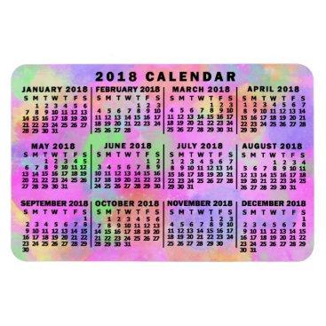 Professional Business 2018 Year Monthly Calendar Rainbow Splatter Paint Magnet
