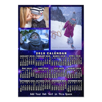 2018 Year Monthly Calendar Space Nebula 3 Photos Magnetic Card