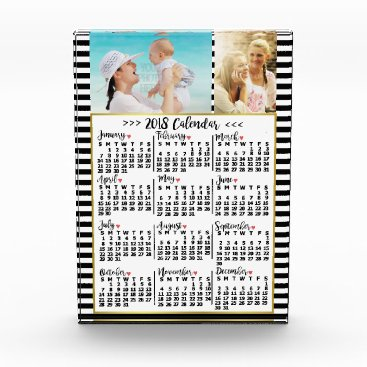 Professional Business 2018 Year Monthly Calendar Stripes | Custom Photos Acrylic Award