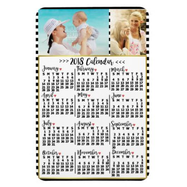 Professional Business 2018 Year Monthly Calendar Stripes | Custom Photos Magnet
