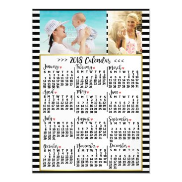 Professional Business 2018 Year Monthly Calendar Stripes | Custom Photos Magnetic Card