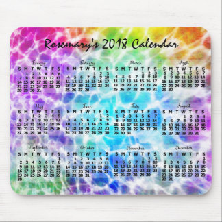 2018 Year Monthly Calendar Tiedye Hippie Rainbow Mouse Pad
