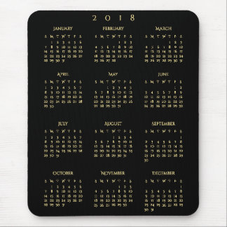 2018 Yearly Calendar Faux Gold Black Home Office Mouse Pad