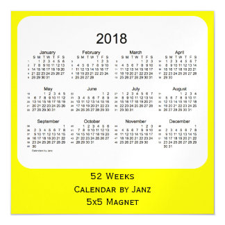 2018 Yellow 52 Weeks Calendar by Janz Magnetic Card