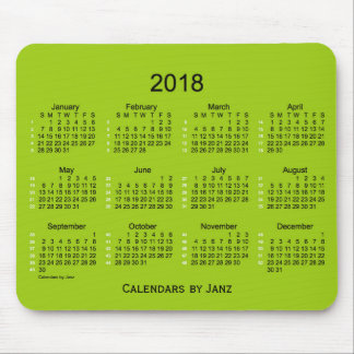2018 Yellow Green 52 Weeks Calendar by Janz Mouse Pad