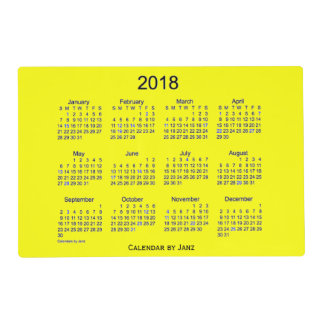 2018 Yellow Laminated Calendar by Janz Placemat