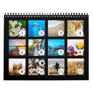 2018 Your Own Photo Easy as 1 to 12 Calendar Black