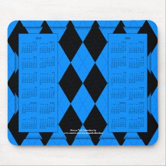 2019-2020 calendario Mousepad, Argyle Azul-Negro Tapete De Raton