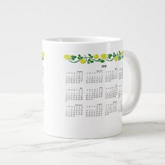2019-2020 Jumbo Calendar Mug-Stenciled Roses Yello Extra Large Mugs