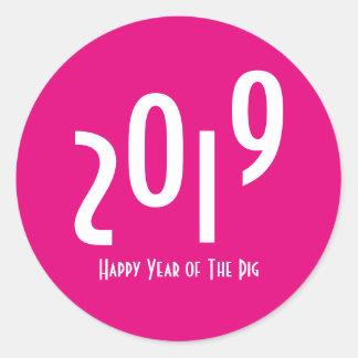 2019 Años Nuevos chinos felices del cerdo Pegatina Redonda