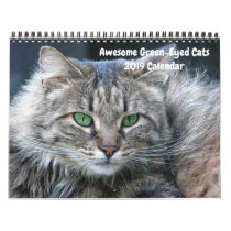 2019 Awesome Green Eyed Cats 12-Month Wall Calendar