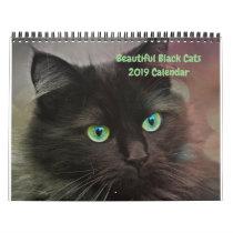 2019 Beautiful Black Cats 12-month Wall Calendar