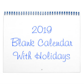2019 Blank Calendar With Holidays