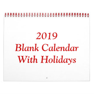 2019 Blank Calendar With Holidays And Red Wire