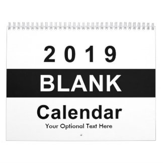 2019 Blank Monthly Photo Calendar