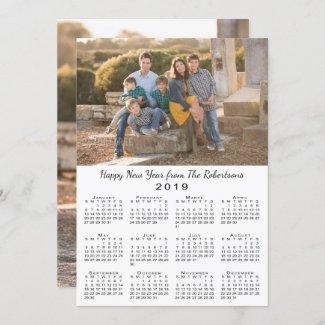 2019 Calendar 2 Custom Photos Happy New Year Holiday Card
