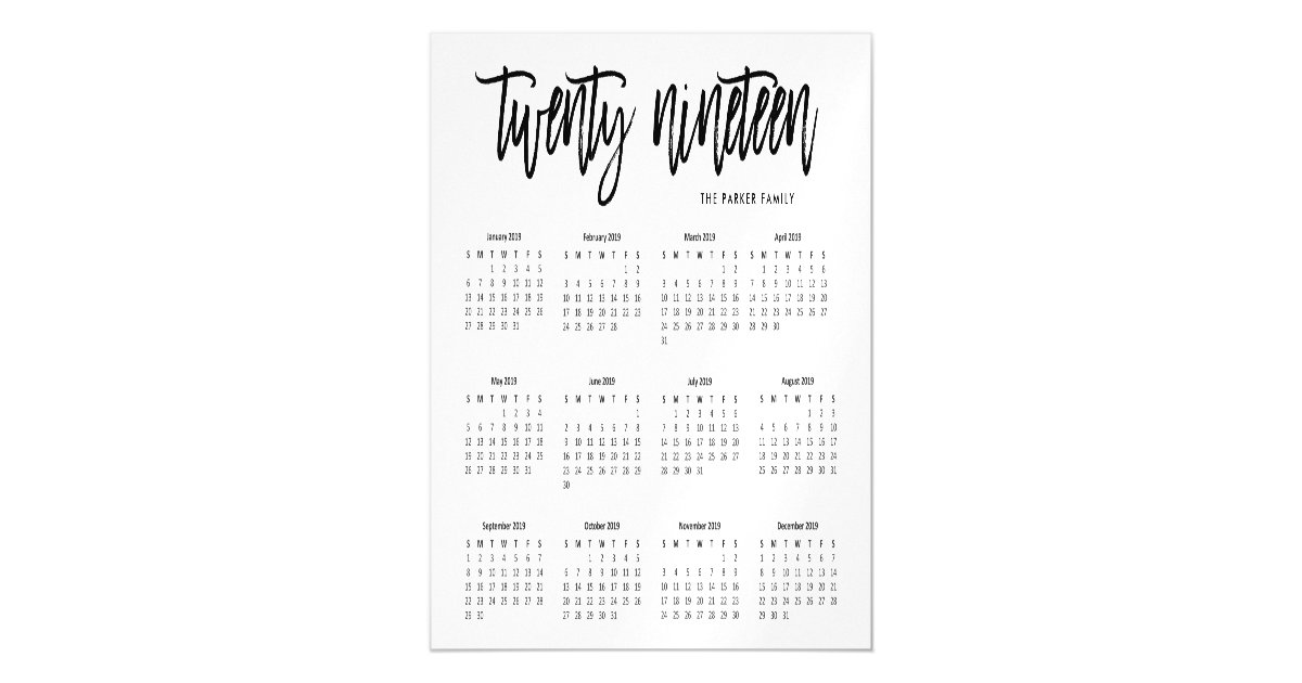 December 2019 Modern Typography Calendar 2019 Calendar | Modern Typography Magnetic Card | Zazzle.com