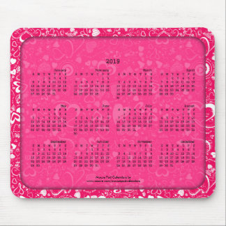 2019 Calendar Mouse Pad Heart Doodles Hot Pink