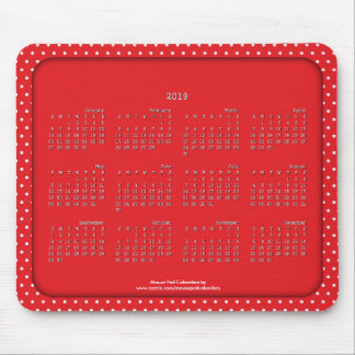 2019 Calendar Mouse Pad Polka Dot Red