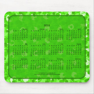 2019 Calendar Mousepad-Dotted Green Mouse Pad