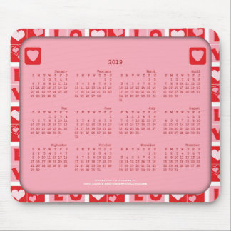 2019 Calendar Mousepad, Square Love Hearts Mouse Pad