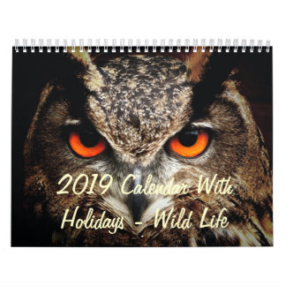 2019 Calendar With Holidays - Wild Life