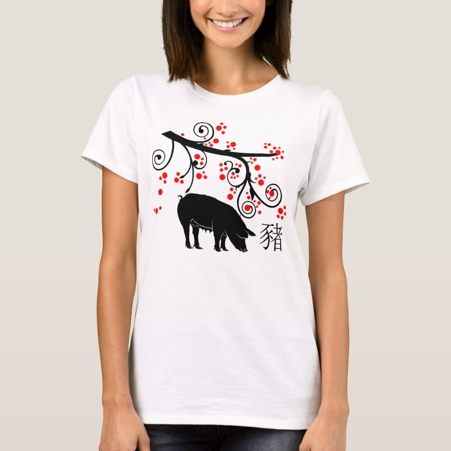 2019 Chinese New Year Pig with Flowering Tree T-Shirt - Best Selling Long-Sleeve Street Fashion Shirt Designs