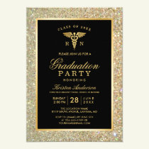 2019 Gold Medical Nursing School Graduation Party Invitation