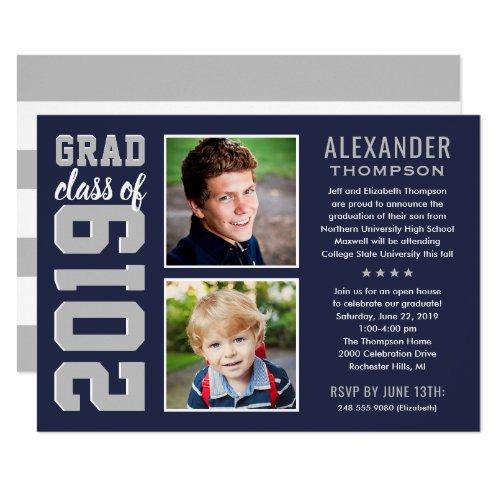 2019 Graduate  Navy Blue Graduation Party Photo Invitation