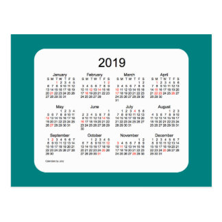 2019 Holiday Calendar by Janz Teal Postcard