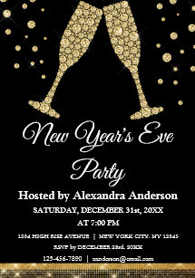 2019 new years eve party champagne glasses invitation