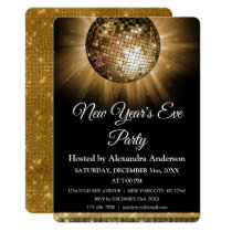 2019 New Year's Eve Party Gold Disco Ball Card