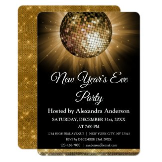 2019 New Year's Eve Party Gold Disco Ball Invitation